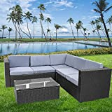 bigzzia Garden Furniture Set, 5 Seat Rattan Sofa With Coffee Table