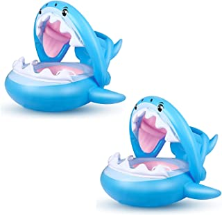 العائمة حزام نفخ القرش السباحة الدائري مع المظلة والمقابض مناسبة للصيف حمام السباحة المحيط شاطئ حوض الاستحمام (2 قطع)