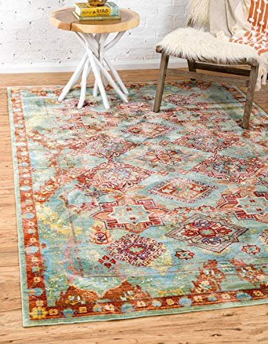Unique Loom Austin Collection Floral Traditional Vintage Green Area Rug (9' 0 x 12' 0)