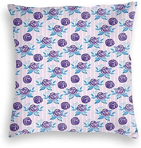 Patchwork Fundas de Almohada Fundas de Almohada cuadradas Decorativas Suaves Funda de cojín Patrón temático romántico de Acuarela Rosas abstractas en Rayas para sofá Dormitorio Coche, 18x18in
