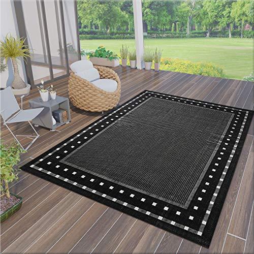VIMODA Robuster Flachgewebe Teppich In- und Outdoor Tauglich 100% Polypropylen, Farbe:Schwarz, Maße:160x230 cm
