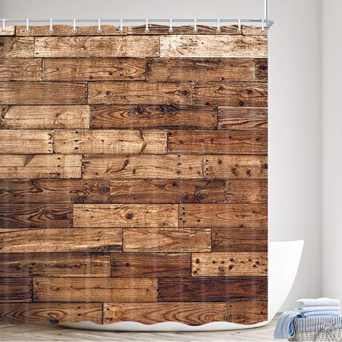 Barn Door Shower Curtain, Farmhouse Brown Wooden Country Rustic Wood Fabric Primitive Plank Wall Texture Polyester Fabric Waterproof Bath Curtain, Bathroom Shower Curtains with Hooks, 69X70in