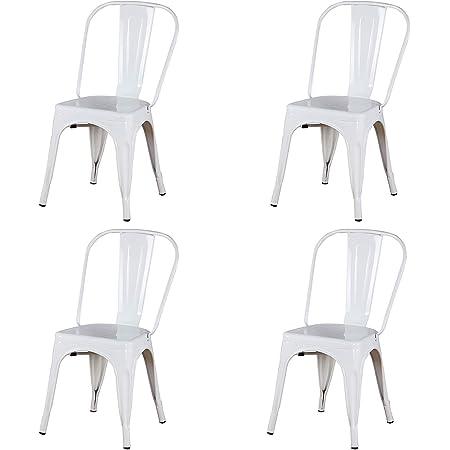 WV LeisureMaster Juego de 4 sillas de metal apilables de metal estilo vintage industrial; apto para uso en interiores y exteriores, silla de jardín de cocina, premontada (blanco)