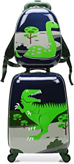 2pcs Children Rolling Suitcase Animal Cartoon Pattern Carry On Set With Universal Wheels 18 in with 13 in Cute Cartoon Shoulder Bag Travel Luggage Case Set (Dinosaur, 18