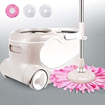 Floor Mop Hand-Free Household Double Drive Wet and Dry Clean Microfiber Spin Mop Bucket Set for Floor and Home Cleaning