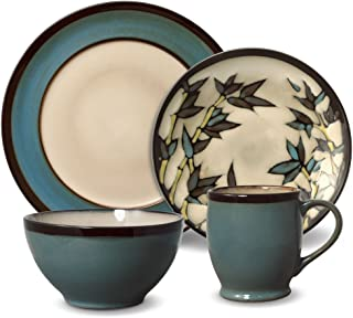 Gourmet Basics Belmont Round Blue Stalks Dinnerware Set (16 Piece)