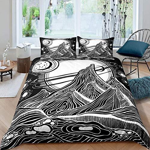 RONGXIE Retro Mountain Moon Pattern Space Adventure - King (220 X 230 Cm) - Duvet Cover & Pillowcase Set Bedding Quilt Case Single Double King Super King