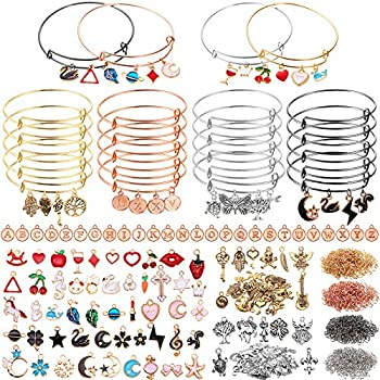 536 Pieces Expandable Bangle Bracelet Making Kit Including 20 Pieces Adjustable Wire Blank Bracelets with Enamel Pendants Alphabet Letter Charm Tibetan Charm 400 Open Jump Rings for Jewelry Making