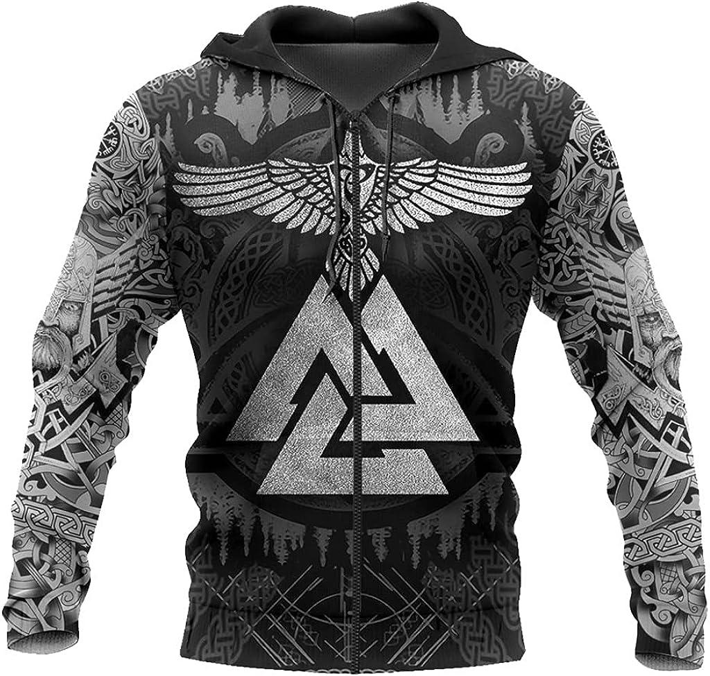 JJLLAZAD Norse Myth Mjölnir Hoodie 3D Print Drawstr with Big Pockets Pullover Casual Loose Men Spring Fall Zipper Sweatshirt