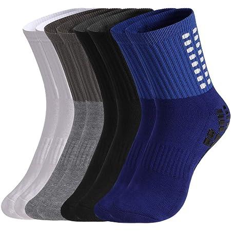 tiopeia 4 Pairs Anti-slip Sport Sock, Men's Athletic Socks Rubber Grip Football Socks for Football Basketball Baseball Yoga Runing Hiking Trekking