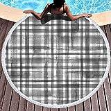 Toalla de Playa Redonda Rayas Cuadros de tartán Blanco y Negro Cuadros Textura geométrica Abstracta Fondo Acuarela Microfibra De Gran tamaño Grande Secado rápido para Toalla de Piscina