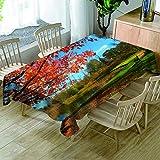 JHSH Tischdecke Polyester Rechteckig Rotes Blatt Teich Freizeit Essenszubehör Pflegeleicht Und Waschbar130x220cm