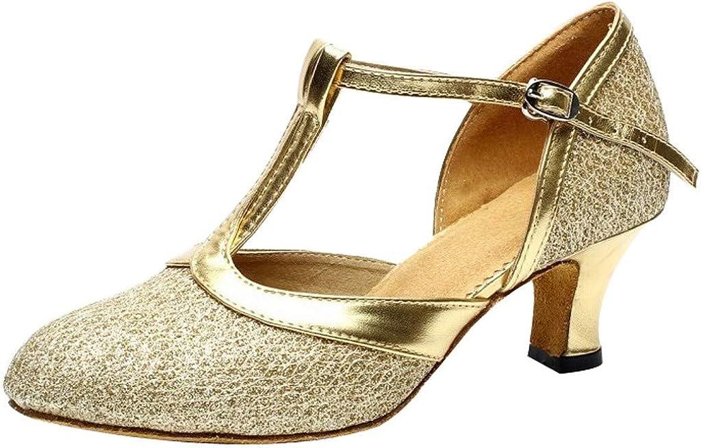 VEFSU Women's Ballroom Tango Latin Salsa Dancing Shoes Sequins Shoes Social Dance Sandales