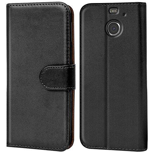 Verco HTC 10 Evo Hülle, Handyhülle für HTC 10 Evo Tasche PU Leder Flip Case Brieftasche - Schwarz