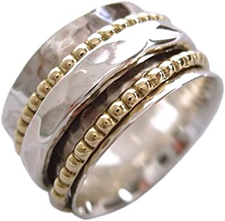925 Sterling Silver Clarity Meditation Spinner Ring with Silver and Brass Spinners on Hammered Pattern Base Ring (SKU US01)
