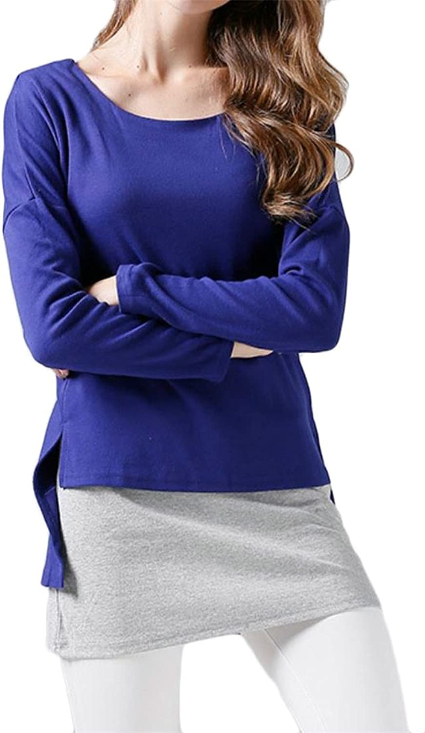 Cromoncent Womens Round Neck Long Sleeve Contrast color Fake Two Patch Sweatshirt Tee Shirts