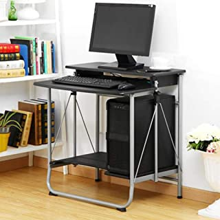 High quality Tables Folding Computer Desk Home Office PC Laptop Workstation Furniture (Color : Black)
