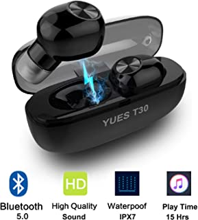 YUES T30 Auriculares Bluetooth 5.0, Inalámbricos Mini Twins Estéreo In-Ear con Caja de