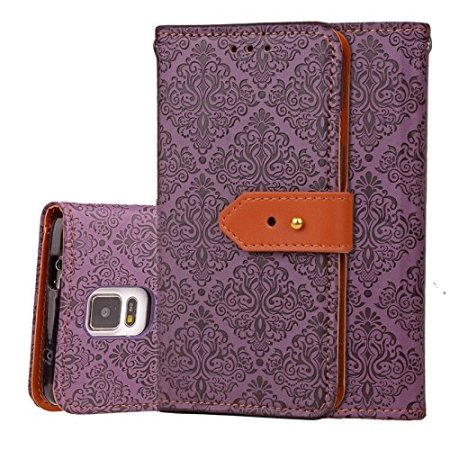 Zhanying pour Samsung Galaxy Note 4 Flip Wallet Case avec Support et Fente pour Carte Magnetic Closure Style européen Mural Relief en Cuir PU (Couleur : Violet)