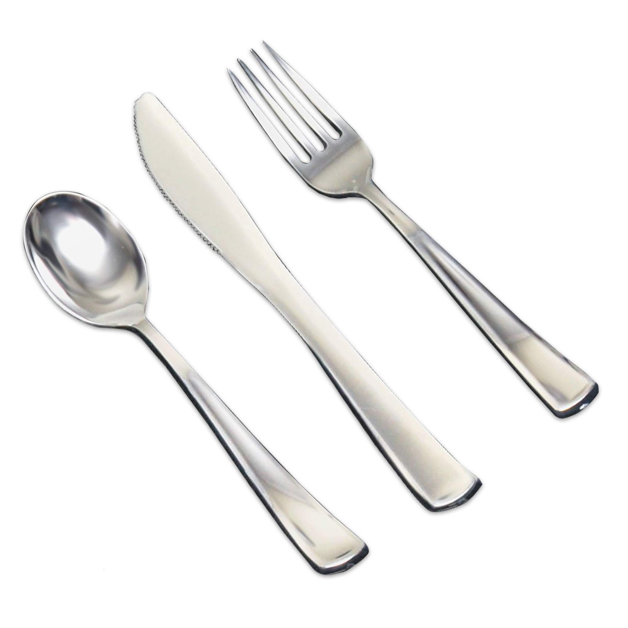 jaunty partyware Juego de cubiertos desechables de plástico metálico de cuchillos, tenedores y cucharas Pack de 54 El plastico: Amazon.es: Hogar
