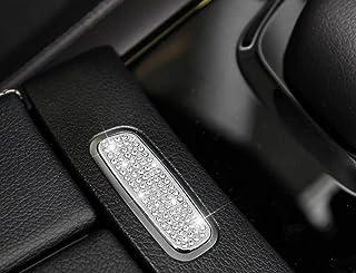 NIUHURU Car Interior Trim Fitting Bling Accessories for Mercedes Benz A Class CLA GLA GLB 2020-2021 (Silver, Armrest Box Switch Button Sticker 1pc.)