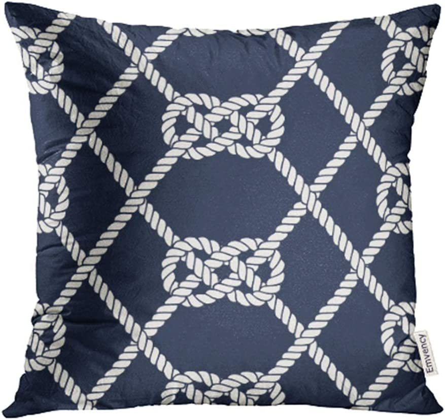Emvency Decorative Throw Pillow Case Cushion Cover Nautical Rope Endless Navy With White Loop Marine Carrick Bend Knots On Dark Blue 20x20 Inch Cases Square Pillowcases Covers For Sofa Two Sides Print Home Kitchen Amazon Com