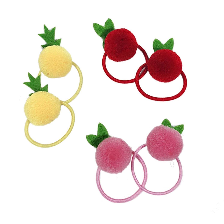 短命頼むモードリンBeaupretty 6個入り弾性ヘアネクタイかわいいポンポンポンポンロープポニーテールホルダー女の子用ヘアアクセサリー(黄色+赤+ピンク、各色2個)