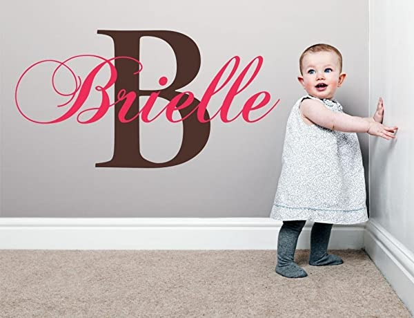 Baby Girl Initial Personalized Custom Name Vinyl Wall Decal 20 W By 12 H Girl Name Wall Decals Wall Decal Name Wall Decal Nursery Name Decal Girls Names Plus Free White Hello Door Decal