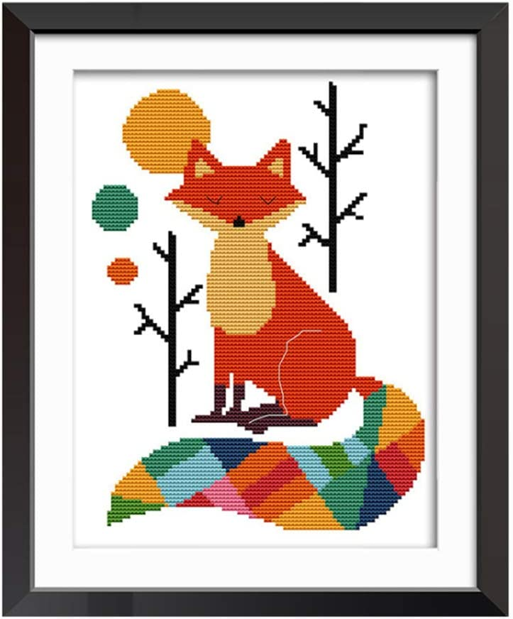 12.5 x 17 :Colorful Cat Proumhang 11CT 3 Strands Stamped Cross Stitch Beautiful Animal Anime Simple Embroidery Kit Needlecraft DIY Aida Printed Living Room Bedroom Hallway 32cm x 43cm