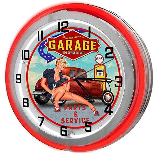 Last Chance Garage 18  Red Double Neon Garage Clock from Redeye Laserworks