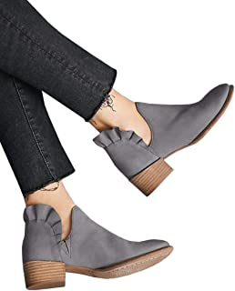Womens Cutout Ankle Boots Ruffle Chunkly Block Low Heel Slip On Winter Booties