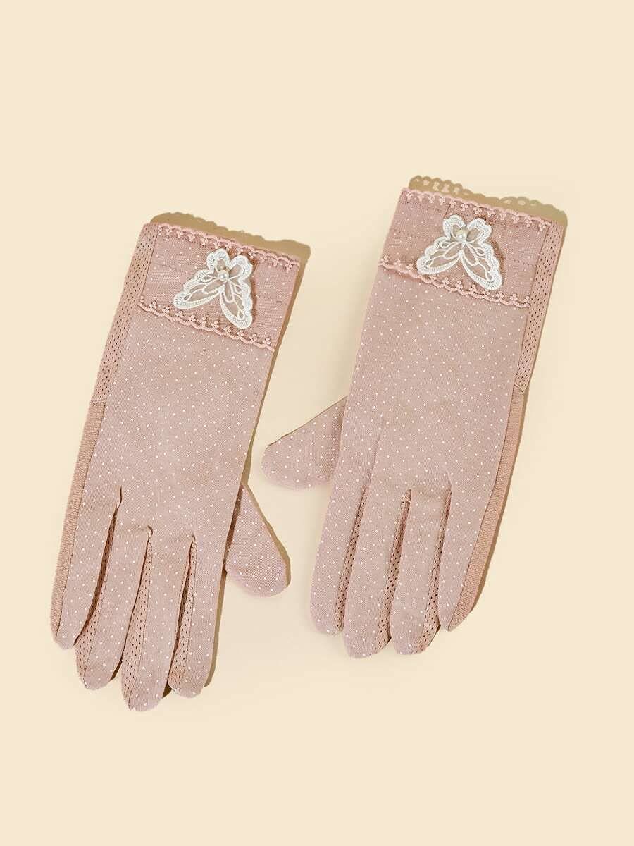 ZZTT Autumn and Winter Gloves Butterfly Decor Polka Dot Gloves Warm and Comfortable Gloves for Men or Momen (Color : Pink, Size : One-Size)