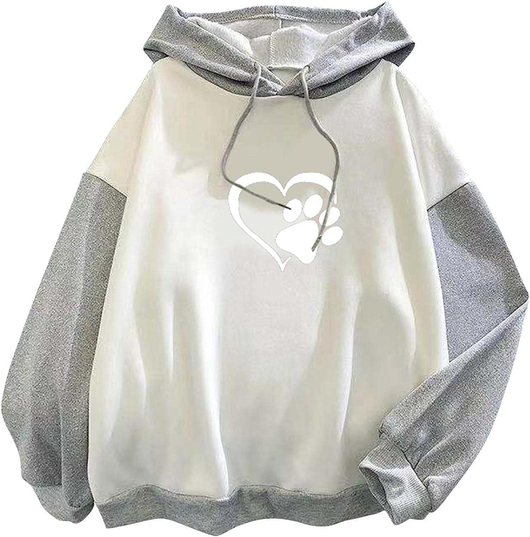 Toeava Cute Hoodies for Women, Women's Casual Heart Print Drawstring Pullover Hooded Sweatshirt Loose Long Sleeve Tops