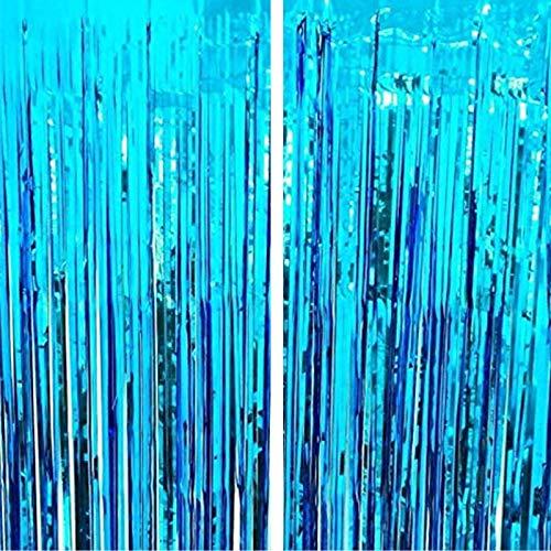 geneic Cortinas metálicas de espumillón con flecos, cortina brillante para cumpleaños, boda, cortina de flecos brillante, decoración de eventos y fiestas (azul)