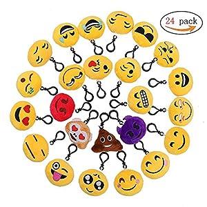 61BeSIf+9fL. SS300  - QH-Shop Emoji Llavero,Emoción Llavero 6cm Mini Regalo de Relleno de Juguete para Coche Mochila Fiesta Favores Decoración Niños Juguete 24 packs