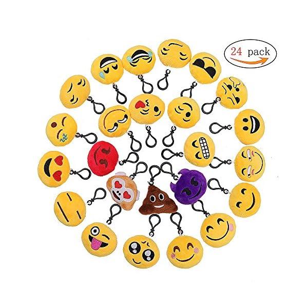 61BeSIf+9fL. SS600  - QH-Shop Emoji Llavero,Emoción Llavero 6cm Mini Regalo de Relleno de Juguete para Coche Mochila Fiesta Favores Decoración…