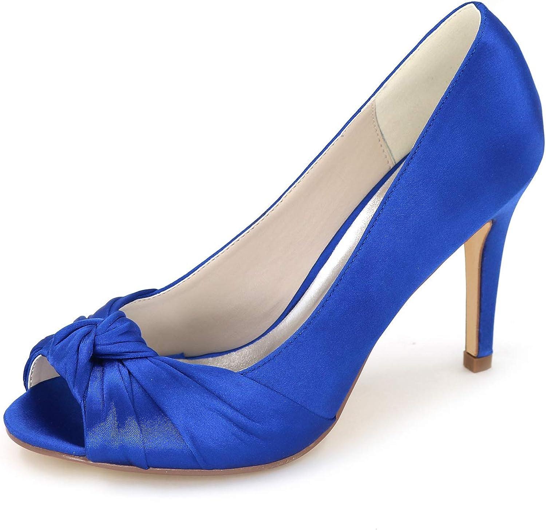 LLBubble Women High Heels Satin Bridal Pumps Peep Toe Stiletto Heel Party Dress shoes 5623-21