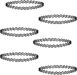 Necklace 6 Pieces charming Plastic Mysterious Collar Necklace Choker Black Velvet Choker for Holiday Dressed Gift Tattoo Necklace Classical for Women Girls