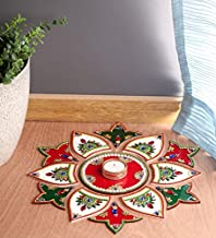 Itiha White Red Green 13 Pieces Rangoli Indian Decor for Wall Decoration, Floor Decoration & Table Decoration for Diwali &...
