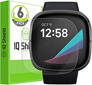 IQ Shield Screen Protector Compatible with Fitbit Versa 3 / Fitbit Sense (6-Pack) Anti-Bubble Clear Film