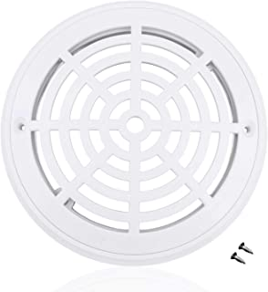 8 Inch Swimming Pool Universal Main Drain Cover with Screws - Fit for in Ground Swimming Pools Accessary - White, Round