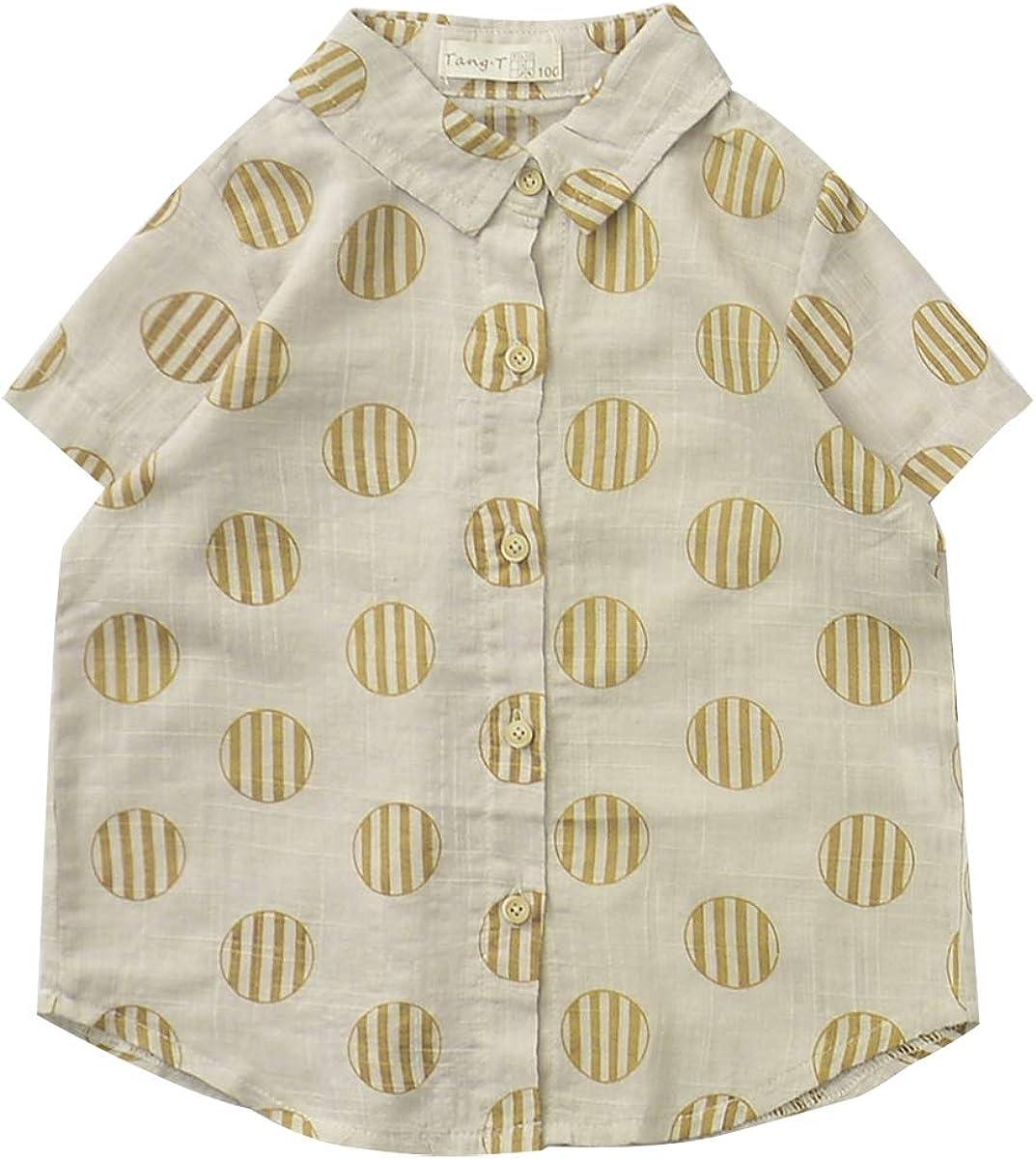Mason Island Toddler Kids Boys Girl' Short Sleeve Button Down Shirt with Pattern