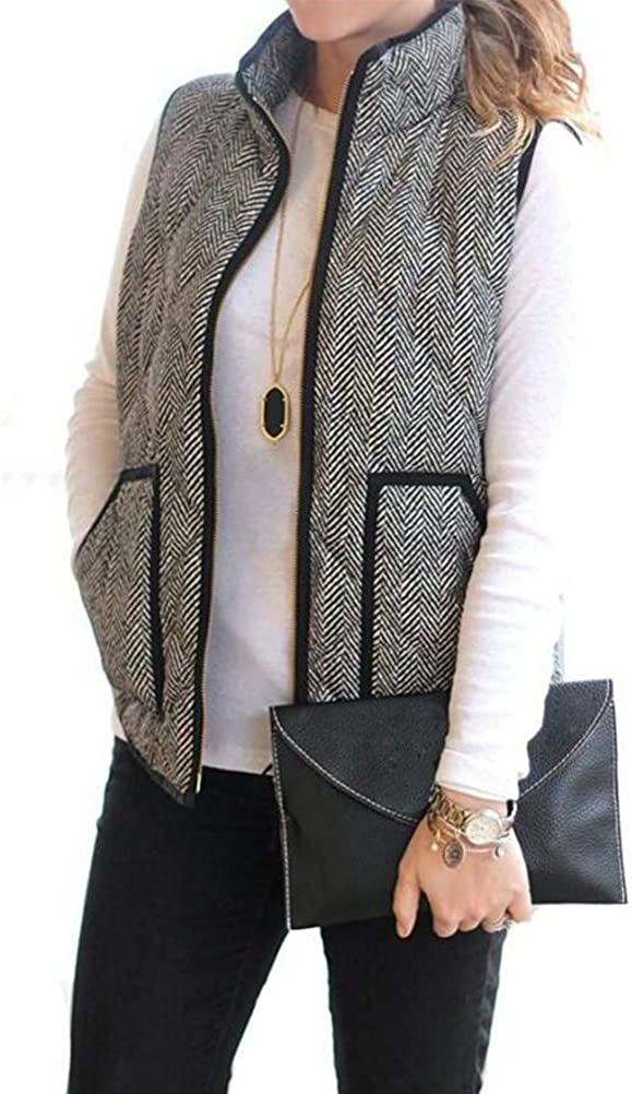 Shanenxn Women's Slim Fall Quilted Herringbone Puffer Vest with Zipper Sport Jacket Outwear (Color : Gray, Size : S)