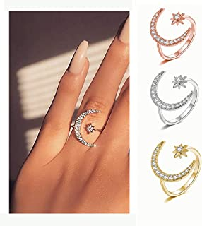 moon and stars ring set
