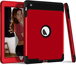 DECVO Anti-Slip Shock-Absorption Resistant Silicone High Impact Hybrid Bumper Hard Three Layer Armor Defender Full Body Protective Cover Fits iPad 2 Case,iPad 3 Case,iPad 4 Case (Red)