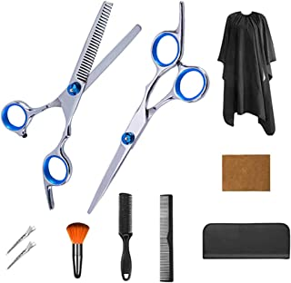 Hair Cutting Scissors Set 10 Pcs Hairdressing Scissors Kit Hair Cutting Kit,Thinning Shears,Hair Razor Combs, Clips,Hair Sweep Brush,Cape,Barber Scissors Set for Hairdressing, Hair Cutting Set