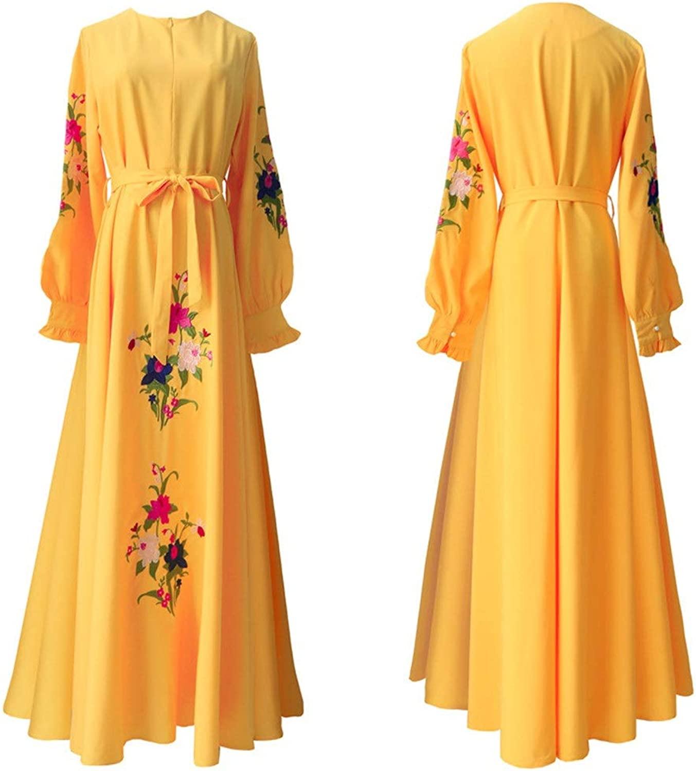 Bridesmaid Dress Women Crew Neck Long Sleeve Embroidered Floral Long Evening Gown Loose Aline Long Maxi Dress with Belt Vintage Cocktail Party Prom Formal Dress (color   Yellow, Size   XXL)