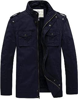 WenVen Men's Twill Cotton Stand Collar Thicken Jacket