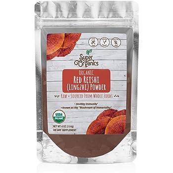 Super Organics Red Reishi Mushroom Powder | Healthy Immunity – Organic, Vegan & Non-GMO, 4 Oz