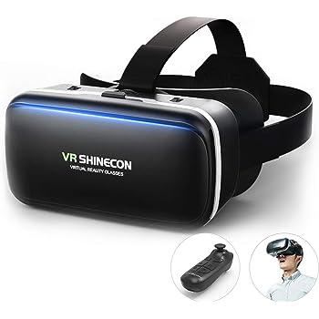 Dasimon[令和進化型VRゴーグル] VRヘッドセット 3D VRヘッドマウントディスプレ モバイル型 瞳孔/焦点距離調節 軽量 非球面光学レンズ 4.7~6.5インチスマホ Bluetoothコントローラ付 120°視野角 着け心地よい スマホVR 近視適用 4.7~6.5インチ iPhone& android などのスマホ対応 日本語説明書付 ブラック